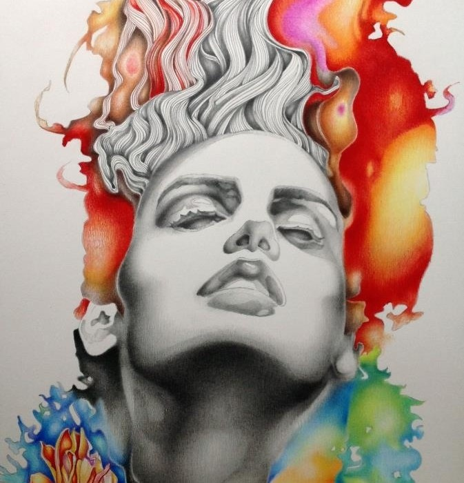 Francesco Jacobello ON FIRE January 2013 54 x 74 cm framed pencil and pencil pastels on paper £1200