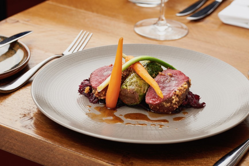 Venison dish served at The Half Moon - a country pub in West Sussex