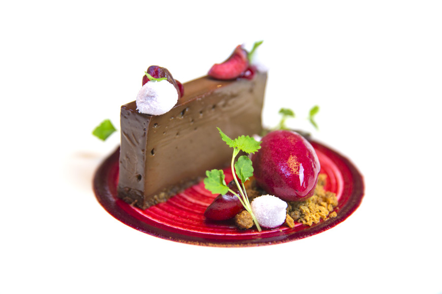 Valrhona chocolate pave, macerated cherries, caramlized white chocolate