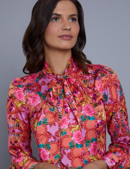 womens-red-and-pink-floral-stripe-fitted-satin-blouse-single-cuff-pussy-bow-LUDZV002-L16-129635-800px-1040px