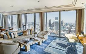 The images shows the living space of the Shangri-La Suite